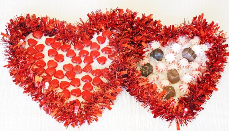 Dwa serca z cukierkiem zdjęcia royalty free