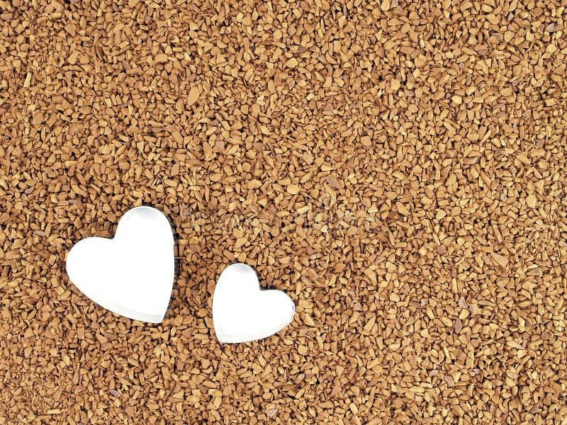 Dwa serce kształtującego ciasto krajacza na Natychmiastowej kawy proszku obrazy stock