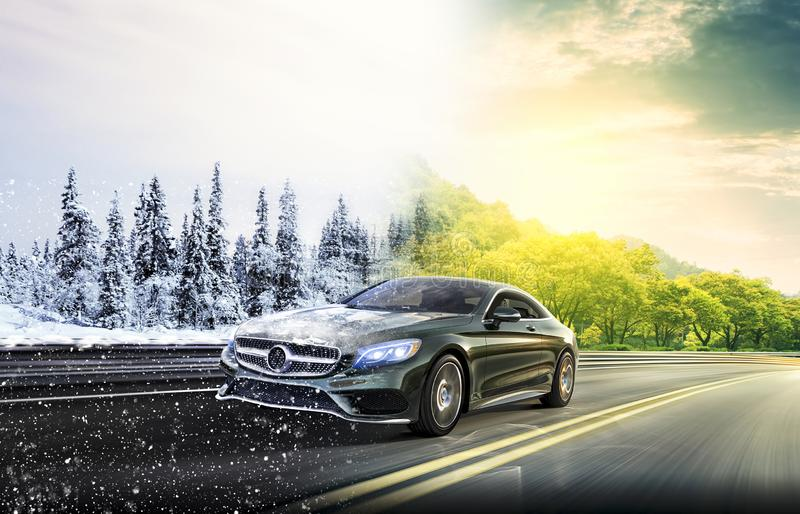 Dwa sezonu na drogowym samochodzie zdjęcia royalty free