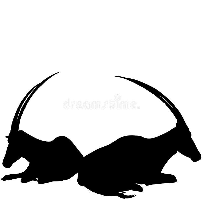 Dwa siedzącej antylopy sylwetki ilustracji