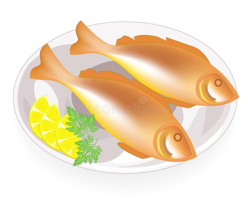 Dwa smażąca ryba na talerzu Smakowity i od?ywczy jedzenie Następna pietruszka i cytryna Stosowny dla ?niadania, lunchu lub go?cia royalty ilustracja