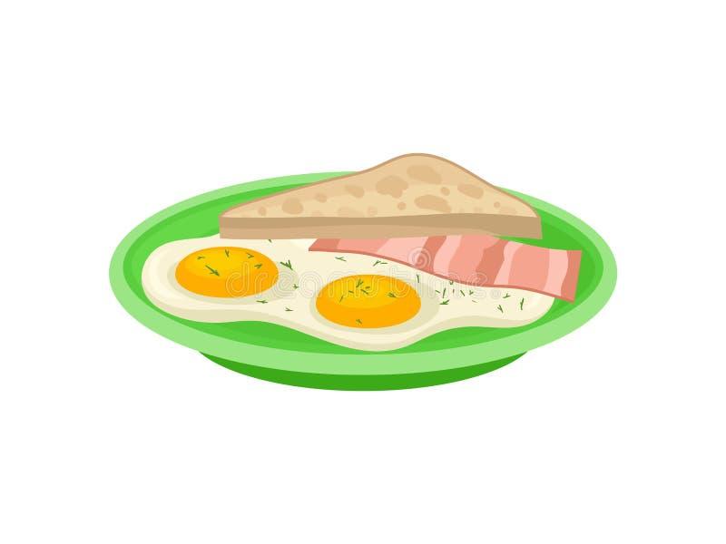 Dwa smażyli jajka, plasterek bekon i grzanka chleb na zieleń talerzu, Smakowity jedzenie Apetyczny śniadaniowy Płaski wektorowy p ilustracji