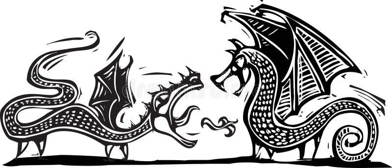 Download Dwa smoka ilustracja wektor. Obraz złożonej z roczniki - 29096135