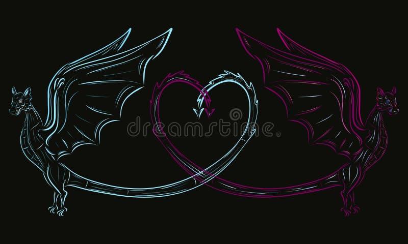 Dwa smoka i serce royalty ilustracja