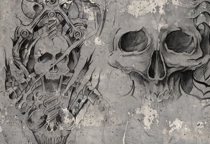 Dwa smoka, tatuaż ilustracja nad popielatą ścianą royalty ilustracja