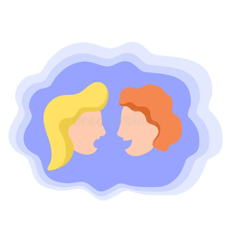 Dwa spikerzego na mężczyzna i kobiecie, kolorowa wektorowa ikona Przyjaciół mówić Plotki lub układu scalonego gadki pojęcie ilustracji