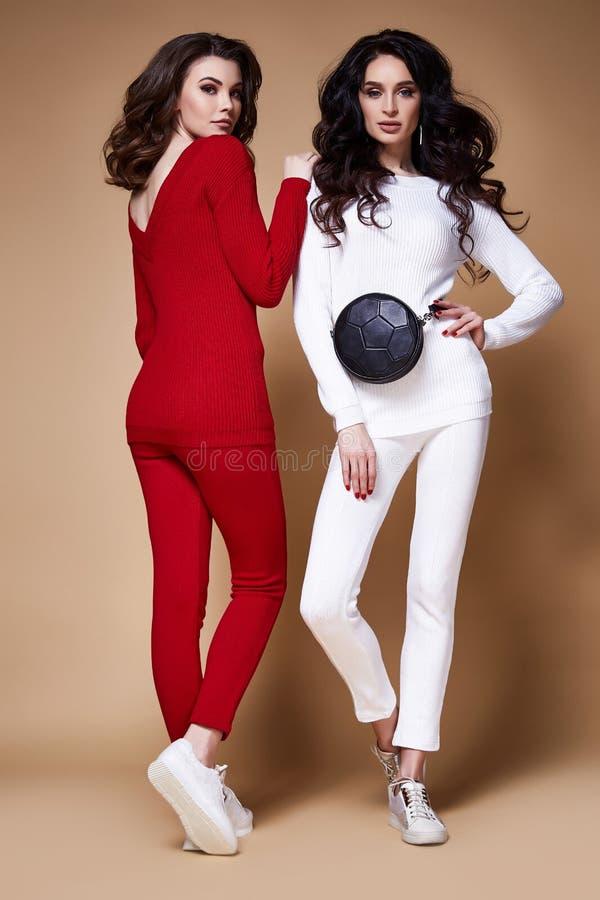 Dwa splendoru mody modela biznesowej kobiety seksowny długi kędzierzawy brunett fotografia stock