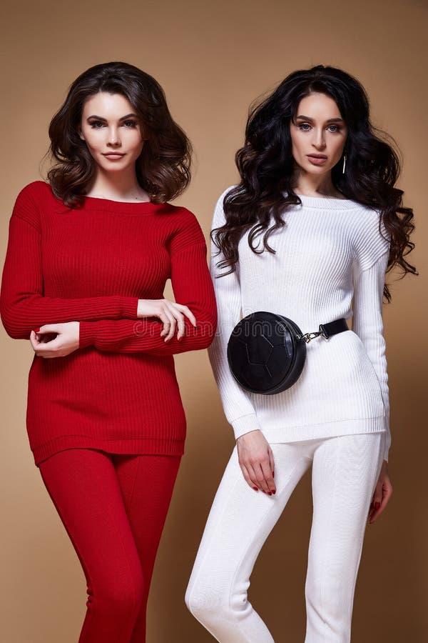 Dwa splendoru mody modela biznesowej kobiety seksowny długi kędzierzawy brunett zdjęcie stock