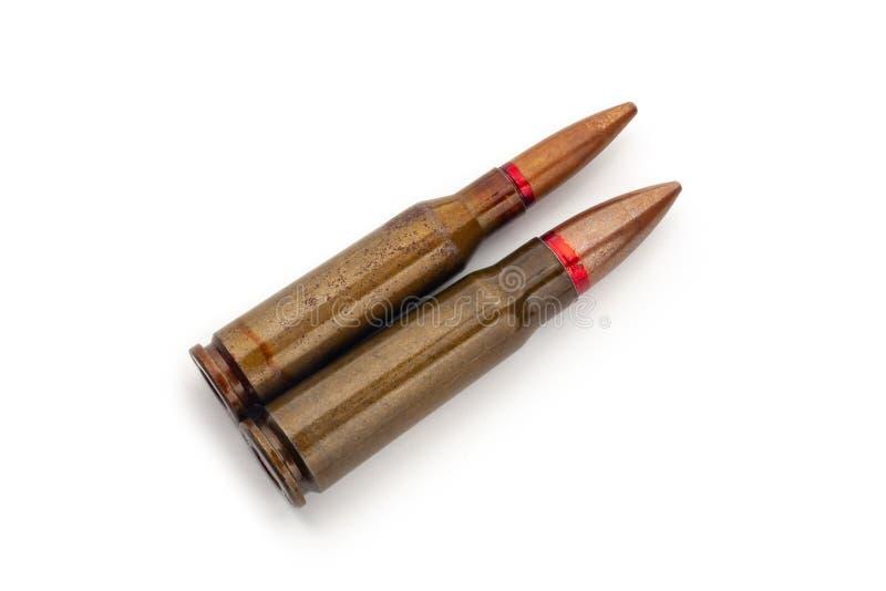 Dwa starego pociska dla karabin?w automatycznych 5 45 i 7 62 kaliber fotografia stock