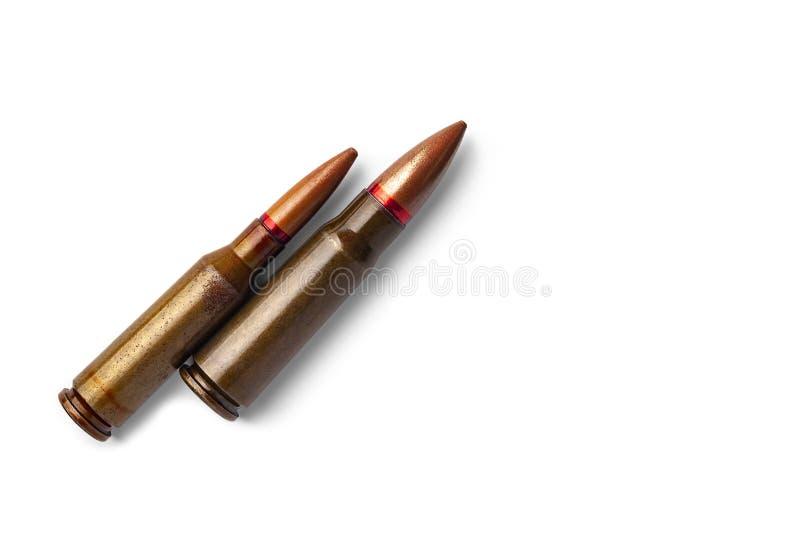 Dwa starego pociska dla karabin?w automatycznych 5 45 i 7 62 kaliber Selekcyjna ostro?? fotografia stock