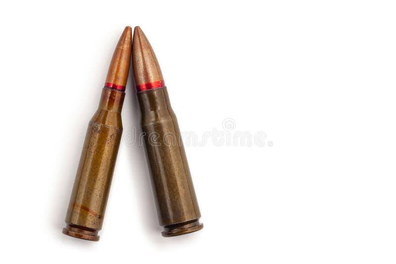 Dwa starego pociska dla karabin?w automatycznych 5 45 i 7 62 kaliber Selekcyjna ostro?? fotografia royalty free