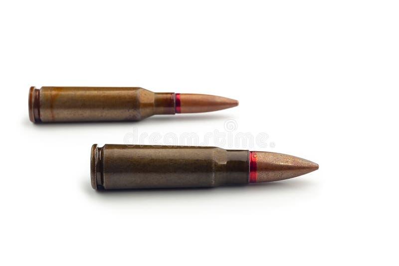 Dwa starego pociska dla karabin?w automatycznych 5 45 i 7 62 kaliber Selekcyjna ostro?? obraz royalty free