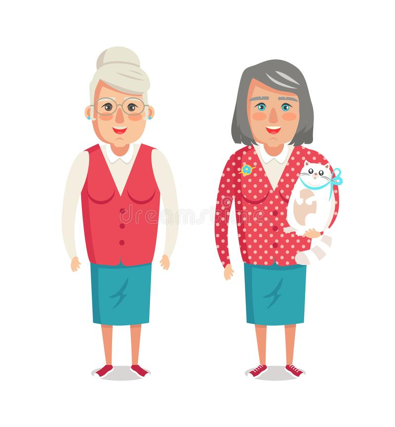 Dwa Starszej kobiety, para babci rewolucjonistki kurtka ilustracji