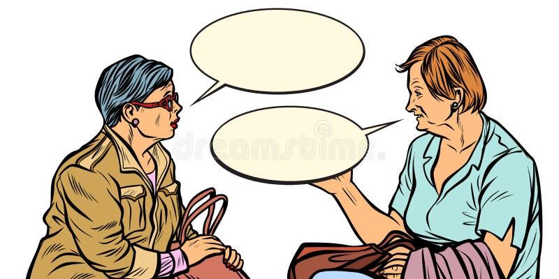 Dwa starych dam opowiadać ilustracja wektor