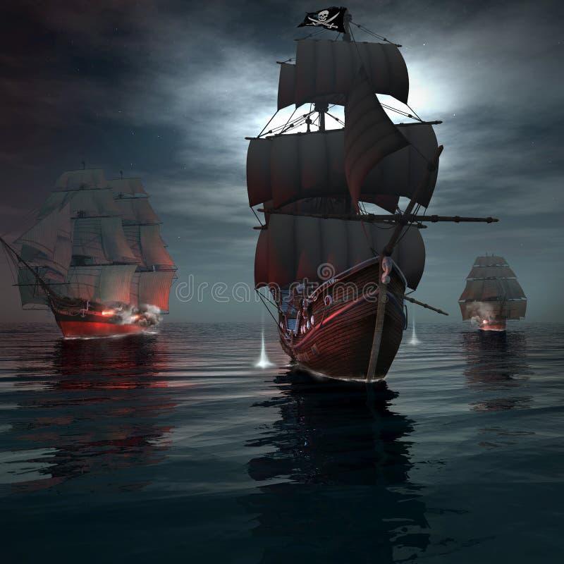 Dwa statków żeglowanie po pirata statku ilustracja wektor