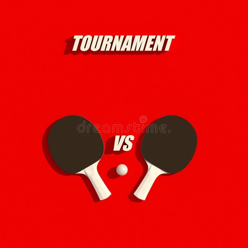 Dwa stołowego tenisa lub śwista pong kanty i balowego turnieju projekta 3d plakatowa ilustracja royalty ilustracja