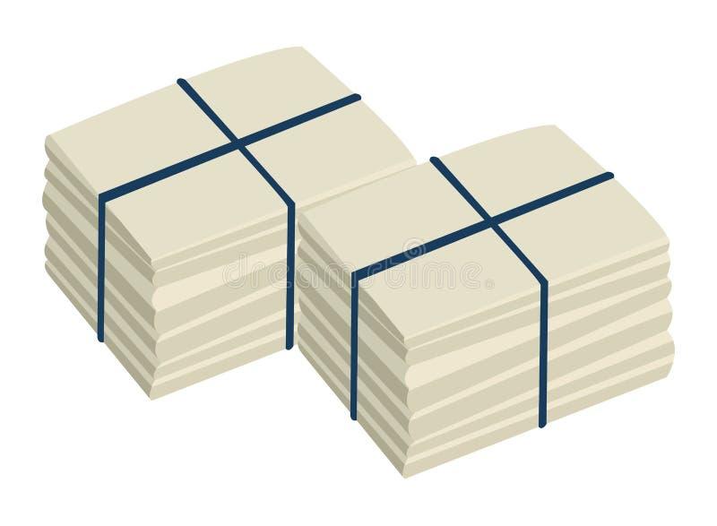 Dwa stos cumujący papier ilustracja wektor