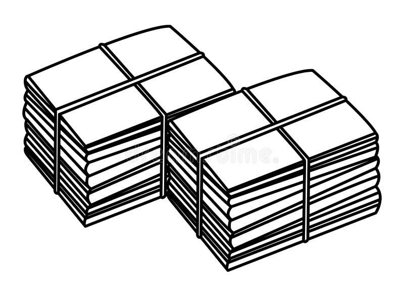 Dwa stos cumujący w czarny i biały papier ilustracji