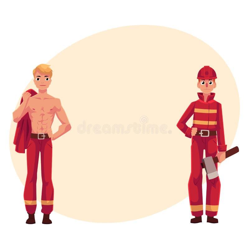 Dwa strażaka, palacze, jeden przy pracą, inny z nagą półpostacią ilustracja wektor