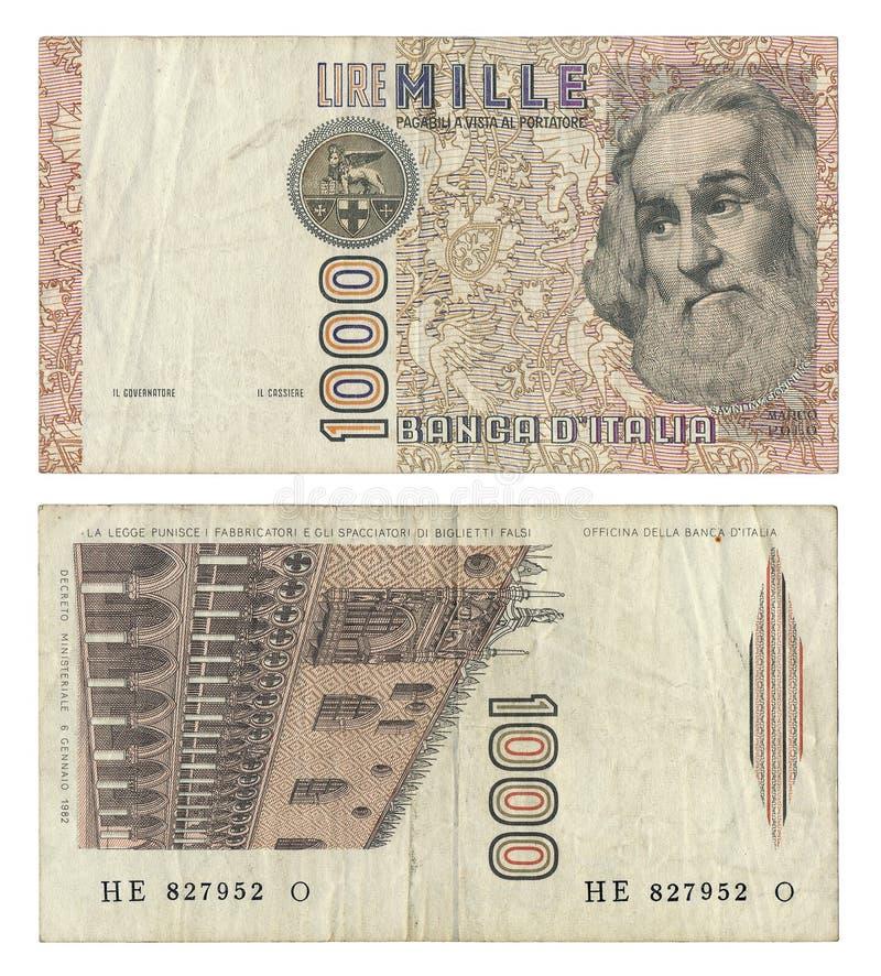 Discontinued włoszczyzna 1000 lirów pieniądze notatki obrazy royalty free