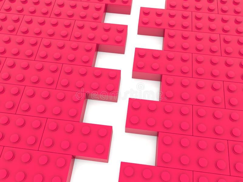 Dwa strony zabawkarskie cegły w czerwonym kolorze przed łączyć ilustracja 3 d royalty ilustracja