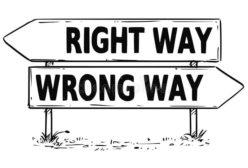 Dwa strzała Szyldowy rysunek prawica lub Mylna sposób decyzja ilustracji