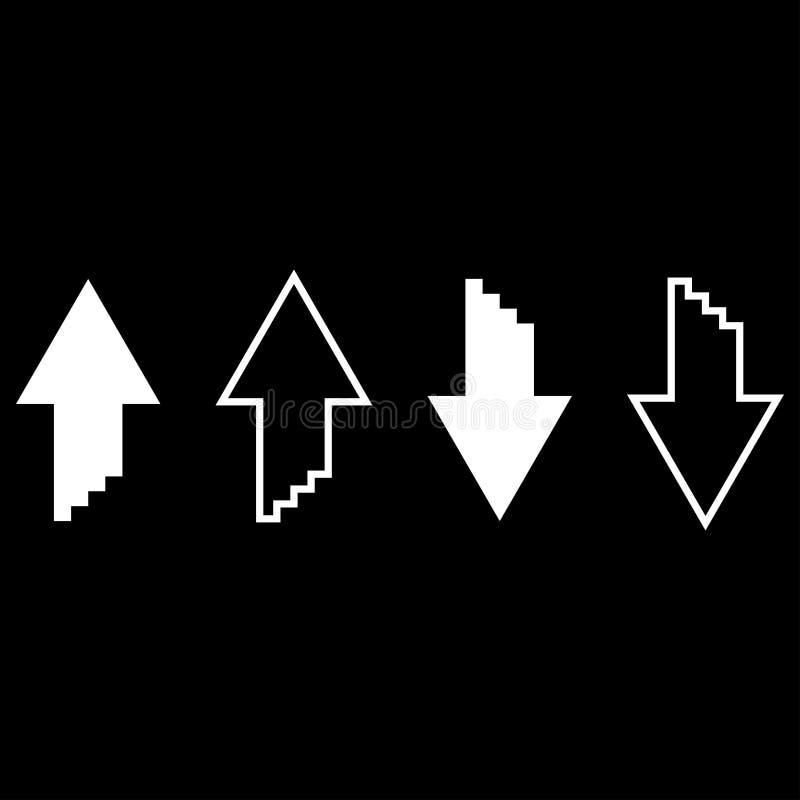 Dwa strzała z sumulation 3d skutkiem dla upload i ściągania ikony koloru ilustraci mieszkania ustalonego białego stylu prostego w ilustracja wektor