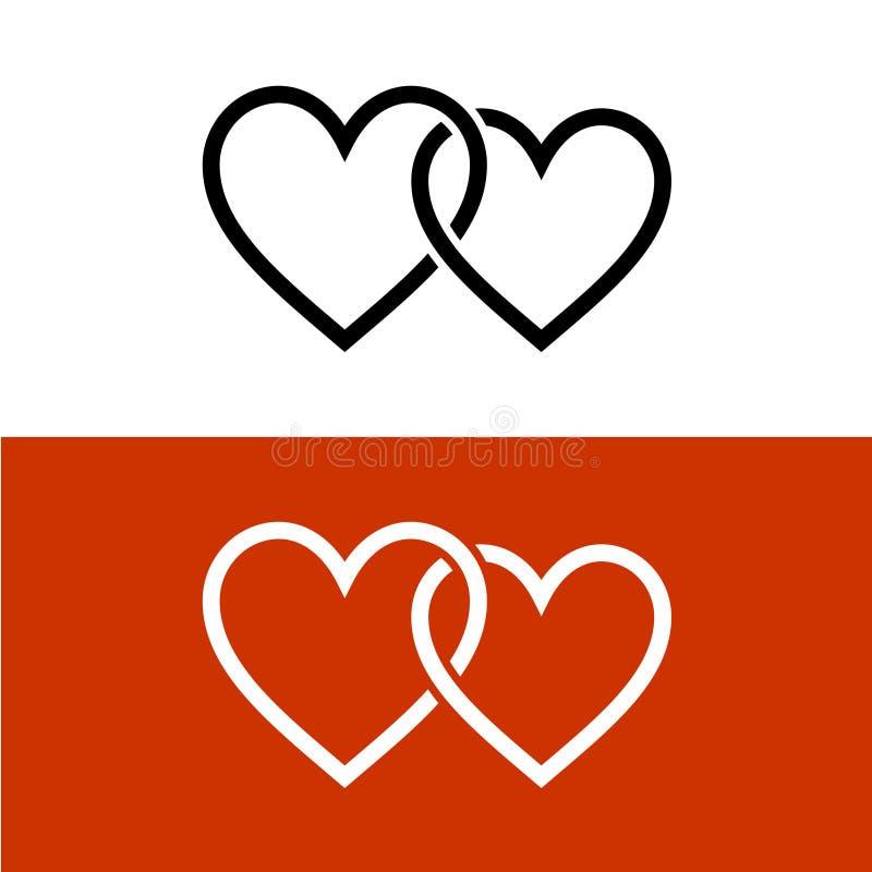 Dwa stylów serc miłości kreskowy wpólnie łączący symbol royalty ilustracja
