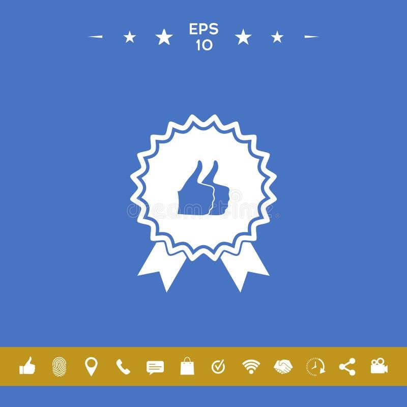 Dwa symboli/lów kciuka Up gest - etykietka z faborkami Kciuk w górę ikony - wysoki wynik najlepszy wybór wysoki royalty ilustracja