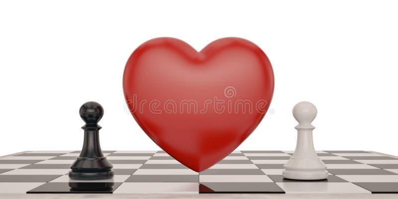 Dwa szachowy i kierowa nadmierna biała tła 3D ilustracja royalty ilustracja