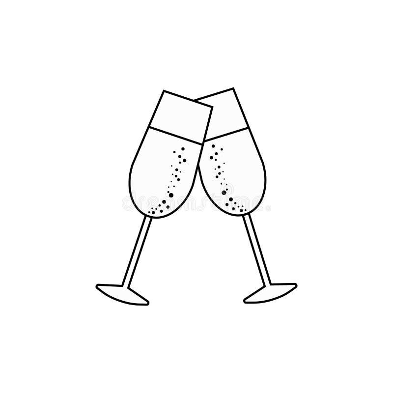 Dwa szampańskiego szkła wektorowa ikona, wydarzenie ilustracji