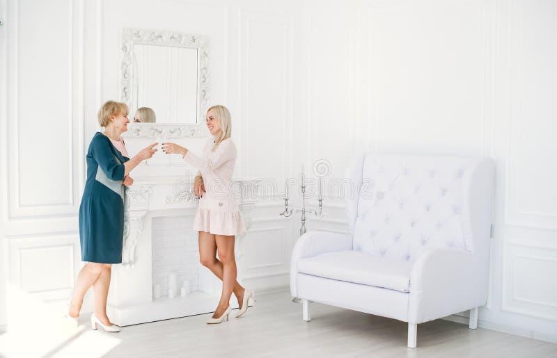 Dwa szczęśliwej kobiety clinking szkła podczas gdy świętujący urodziny zdjęcie stock