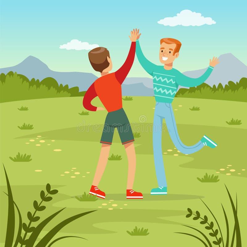 Dwa szczęśliwego najlepszy męskiego przyjaciela spotyka na natury tle, młodzi ludzie ma zabawę, przyjaźni pojęcia wektor royalty ilustracja