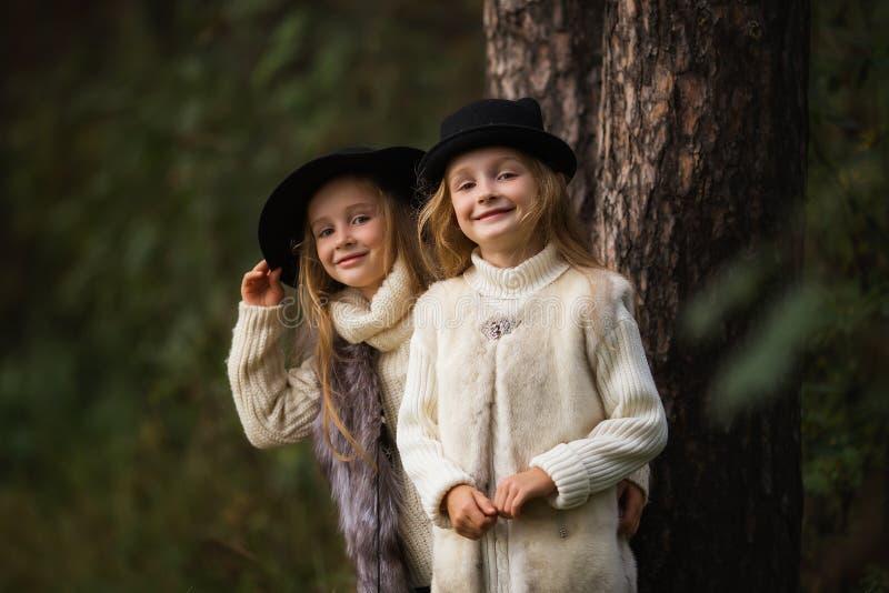 Dwa szczęśliwej dziewczyny równo ubierają: w futerkowych kamizelkach i kapeluszach w lasowych Małych dziewczynach w parku obrazy royalty free