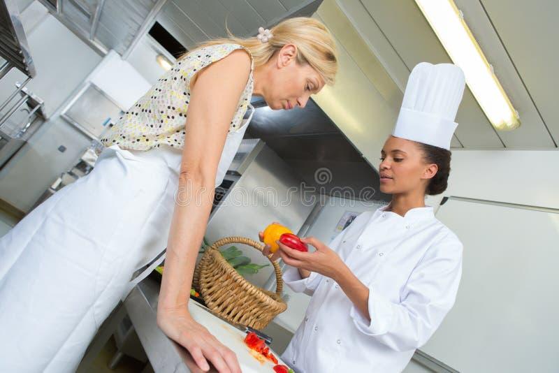 Dwa szefa kuchni przygotowywa naczynia fotografia royalty free