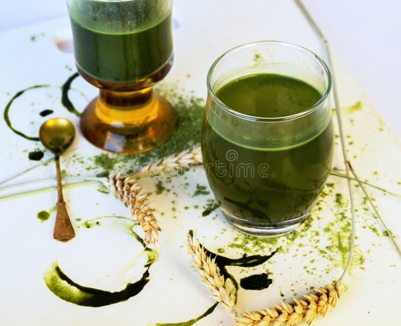 Dwa szkła z zielonym jęczmiennym sokiem obrazy stock