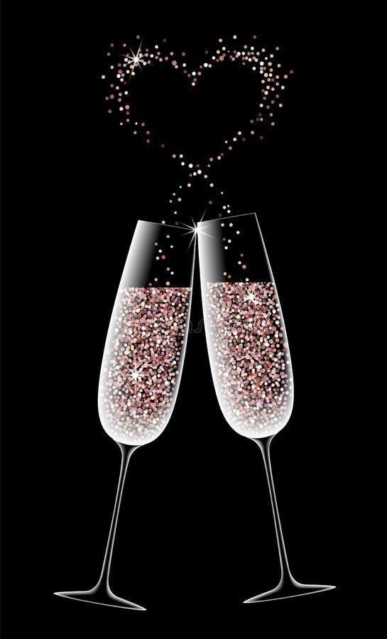 Dwa szkła iskrzasty szampan na czarnym tle ilustracji