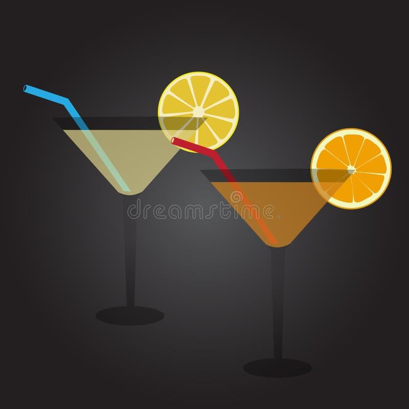 Dwa szkła pełno koktajlu napój przy przyjęciem ilustracja wektor