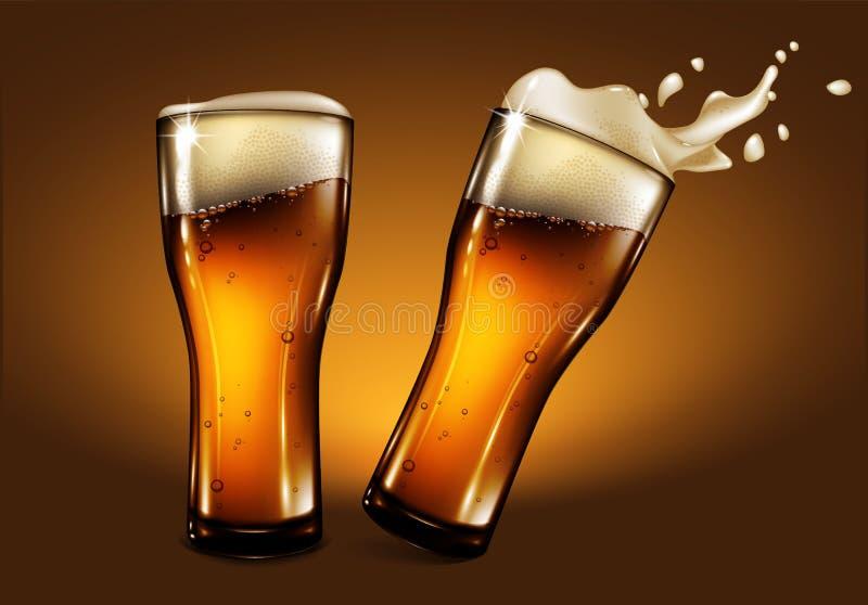 Dwa szkła piwo z pianą i pluśnięcie skutkiem Wysoce realis royalty ilustracja