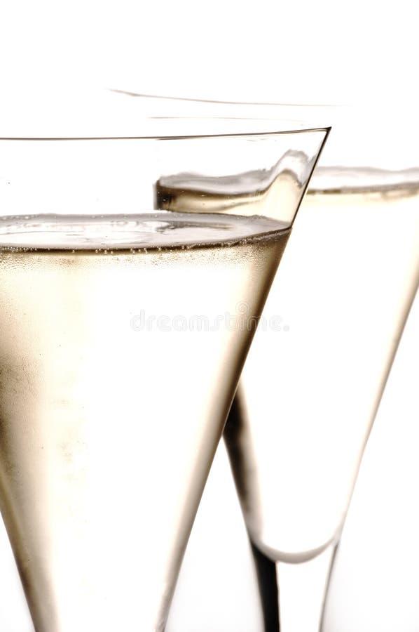 Dwa szkła Szampański zakończenie zdjęcie stock