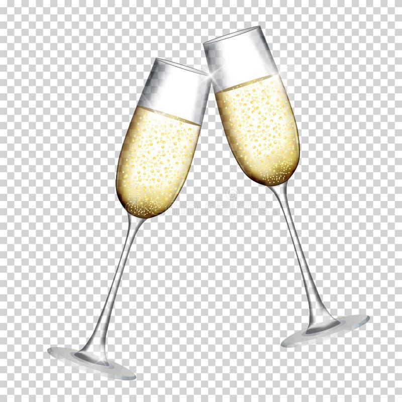 Dwa szkła szampan na Przejrzystym tle również zwrócić corel ilustracji wektora ilustracji