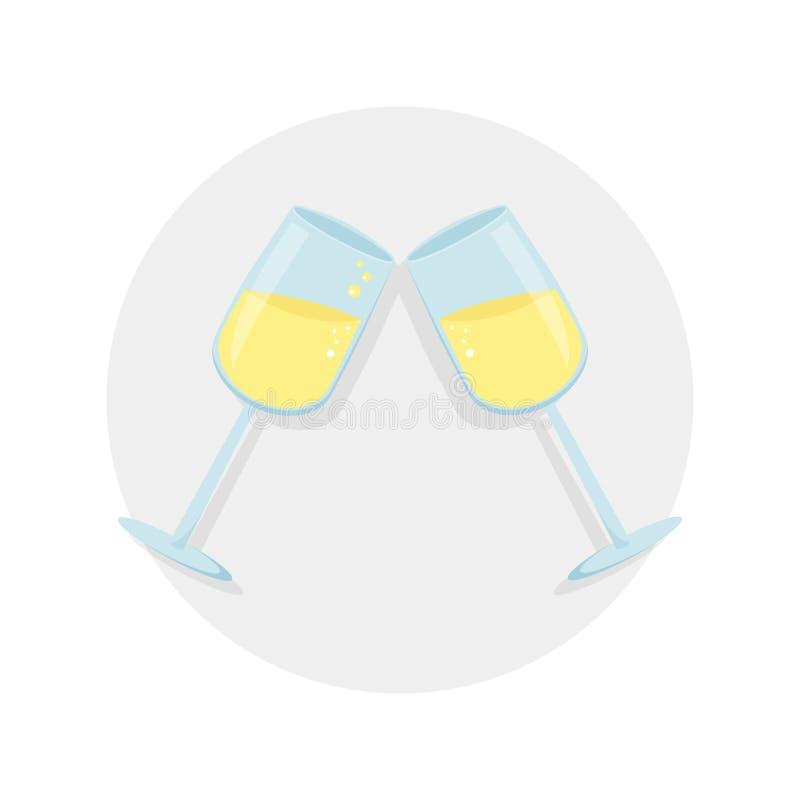 Dwa szkła z shampagne wektoru ilustracją Wektorowa ikona z cieniem odizolowywającym na szarym tle 2009 wigilii nowy rok royalty ilustracja