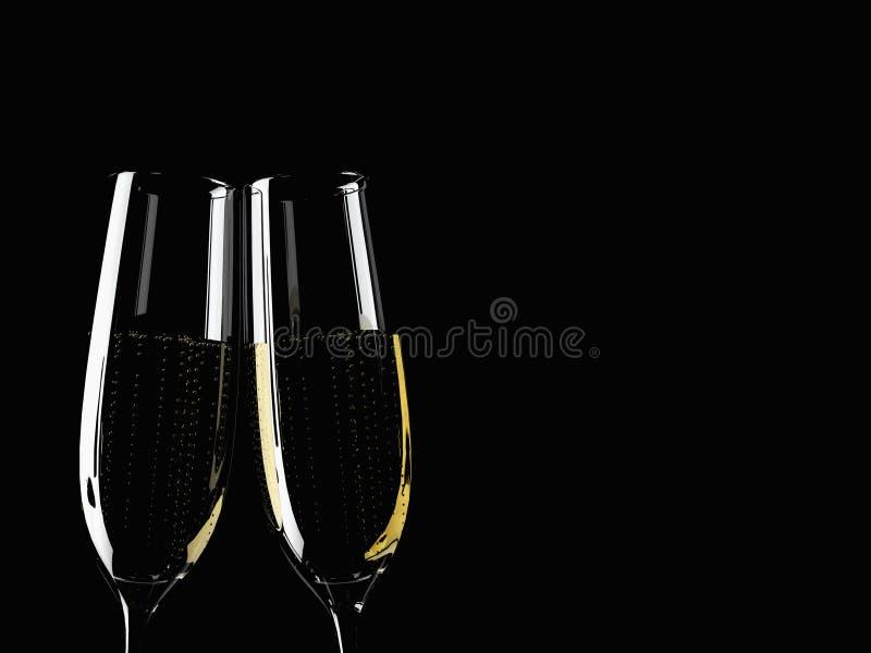 Dwa szkieł szampan na stole z kolorowym obraz stock