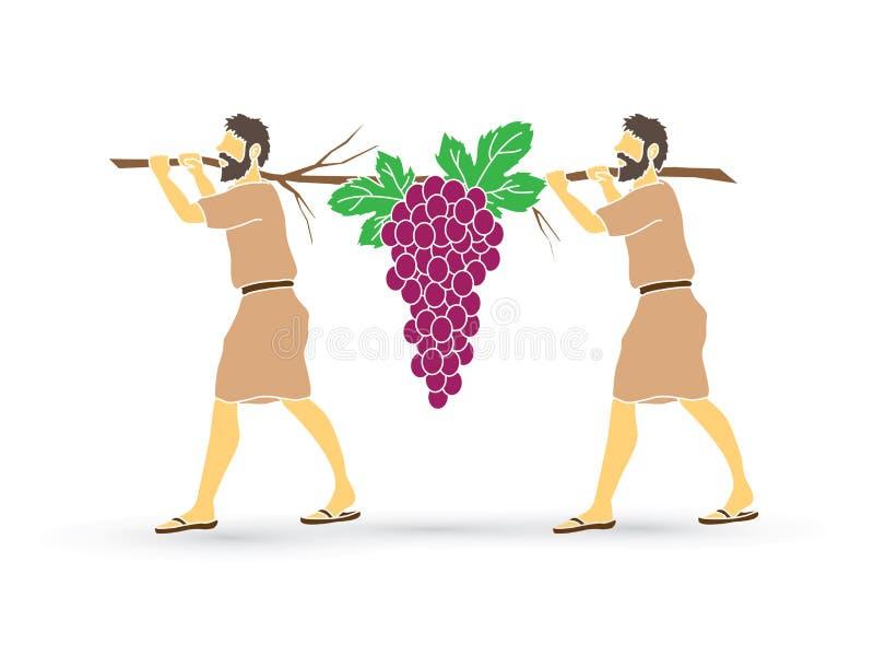 Dwa szpiega Izrael przewożenia winogrona Canaan royalty ilustracja