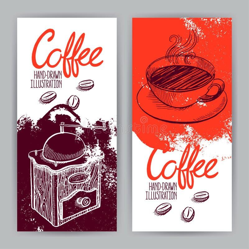 Dwa sztandaru z kawą ilustracja wektor