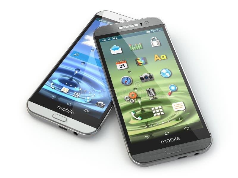 Dwa telefonu komórkowego na białym odosobnionym tle ilustracji