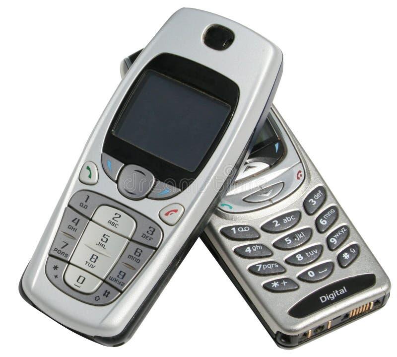 dwa telefony komórkowe. zdjęcia royalty free