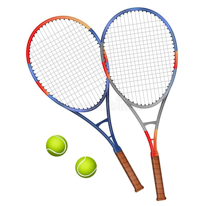 Dwa tenisowych kantów i dwa piłek wektoru ilustracja zdjęcia royalty free