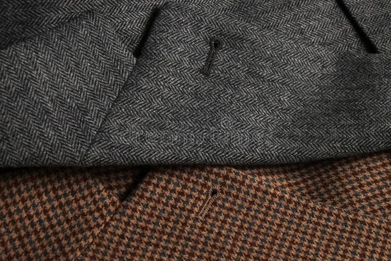 Dwa tweedu żakieta lapels strona fotografia stock