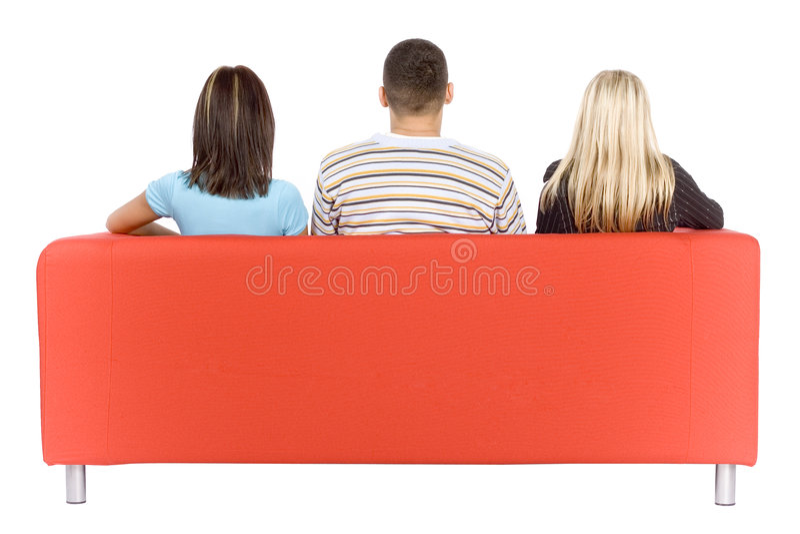 dwa tylne kanapa człowiek świetle kobiety fotografia stock
